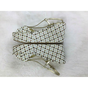 Juicy Couture Shoes - Juicy Couture Cecil Mosaic Gold Slingback Wedge 7